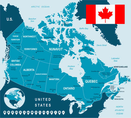 calgary: Canada map, flag and navigation labels - illustration. Illustration