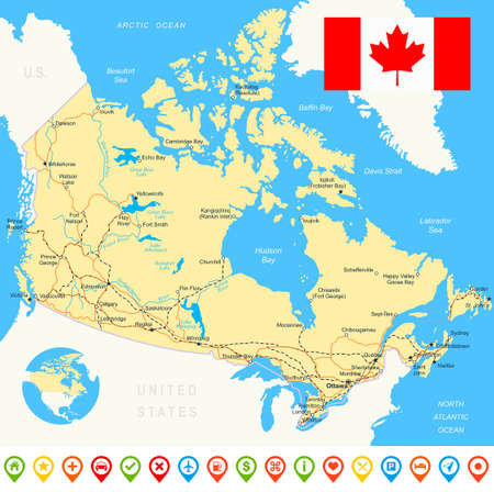navigation icons: Canada map, flag, navigation icons, roads, rivers - illustration.