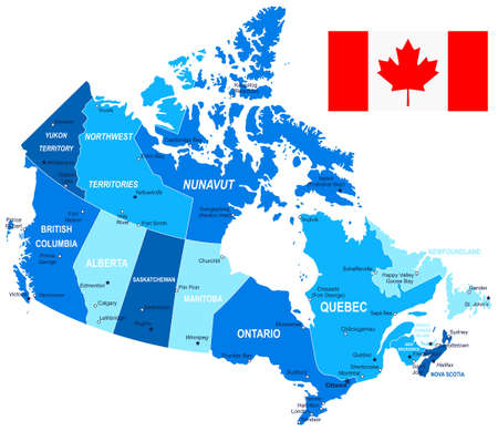 Map Of Canada And Flag Highly Detailed Vector Illustration - Canada map