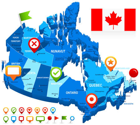 Map of Canada and flag - highly detailed vector illustration. Image contains land contours, country and land names, city names, water object names, flag, navigation icons. Illustration