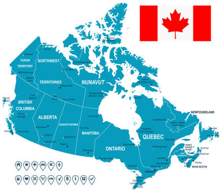 Canada map, flag and navigation labels - illustration. 向量圖像