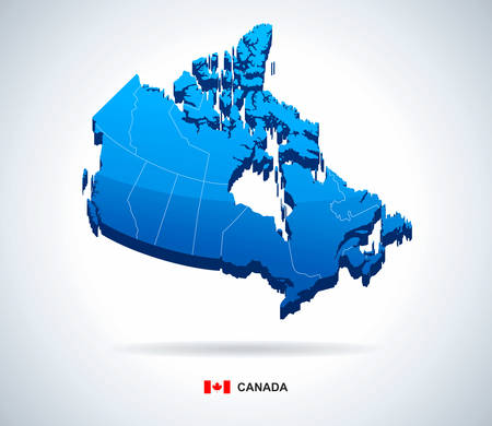 edmonton: Map of Canada - 3D illustration.