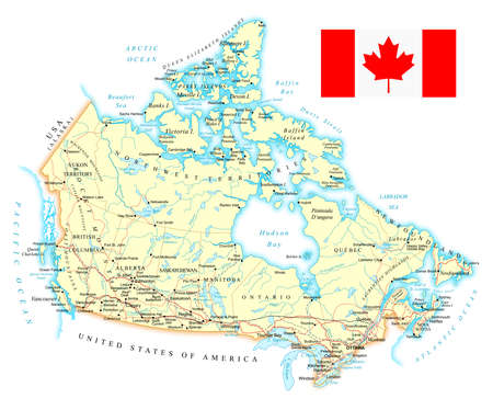country roads: Canada - detailed map - illustration. Map contains topographic contours, country and land names, cities, water objects, roads, railways. Illustration