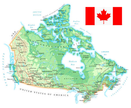 Canada - detailed topographic map - illustration. Map contains topographic contours, country and land names, cities, water objects, flag, roads, railways.