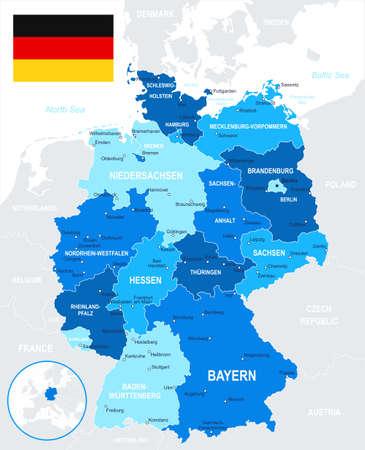 Niemcy - mapa i flagi - ilustracji. Ilustracje wektorowe