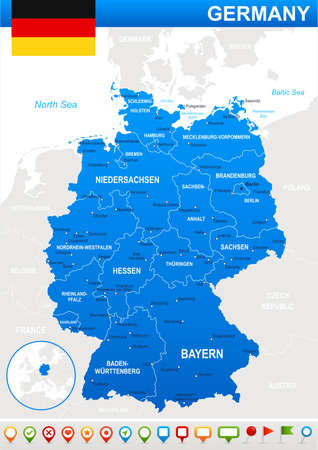 geographical locations: Map of Germany and flag - highly detailed vector illustration. Image contains land contours, country and land names, city names, water object names, flag, navigation icons.