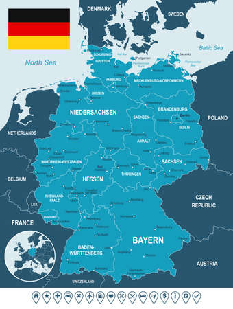 geographical locations: Germany map, flag and navigation labels - illustration. Image contains land contours, country and land names, city names, water object names, flag, navigation icons.