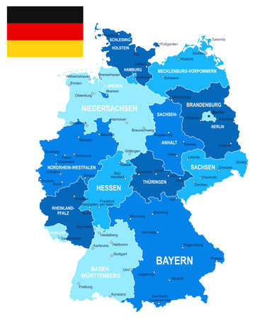 germany: Map of Germany and flag - highly detailed vector illustration. Image contains land contours, country and land names, city names, water object names, flag.