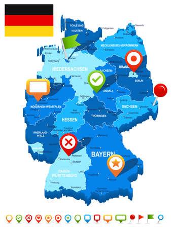 deutschland karte: Deutschland Map 3D, Fahne und Navigationssymbole - Illustration.