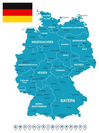 Kaart van Duitsland en de vlag - zeer gedetailleerde vector illustratie. Het beeld bevat land contouren, land en land namen, stadsnamen, vlag, navigatiepictogrammen.
