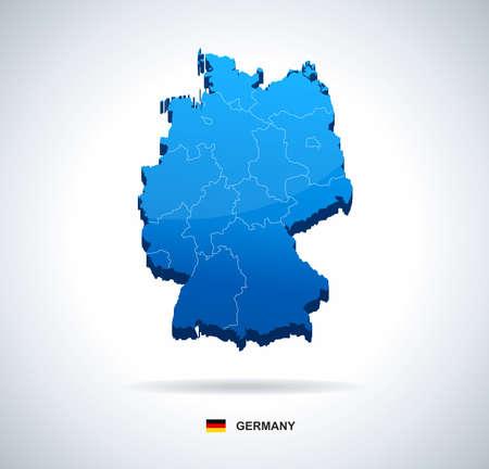 deutschland karte: Deutschland-Karte - dreidimensionale Vektor-Illustration. Karte von Deutschland - 3D-Darstellung.