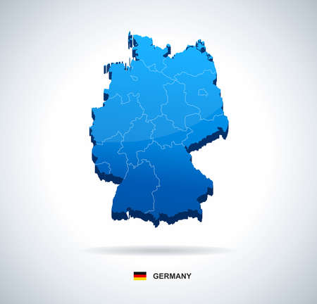 Germany map - three-dimensional vector illustration. Map of Germany - 3D illustration.