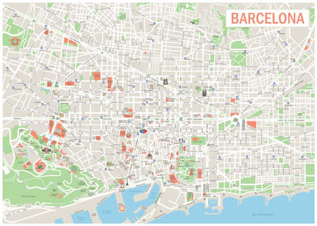 geographical locations: Barcelona Map. Highly detailed vector map of Barcelona. Image includes streets, parks, names of subdistricts, points of interests. Illustration