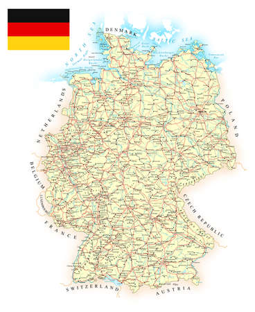 country roads: Germany - detailed map - illustration. Map contains topographic contours, country and land names, cities, water objects, roads, railways. Illustration