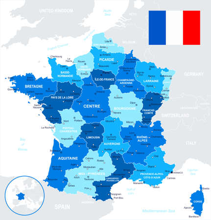 Map of France and flag - highly detailed vector illustration. Image contains land contours, country and land names, city names, water object names, flag. Illustration