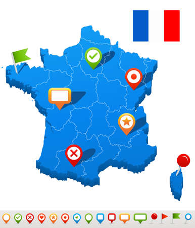 geographical locations: Vector illustration of France map and navigation icons.