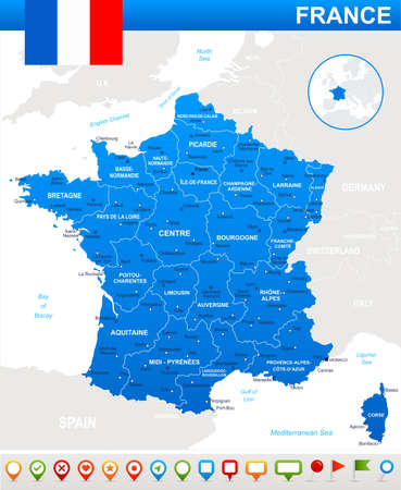regions: France map, flag and navigation icons - illustration.