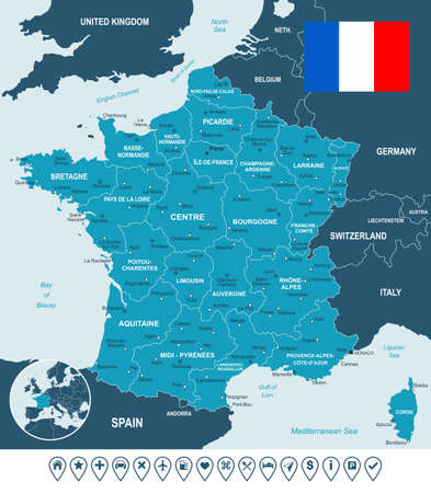 nice france: Map of France and flag - highly detailed vector illustration. Image contains land contours, country and land names, city names, water object names, flag, navigation icons.