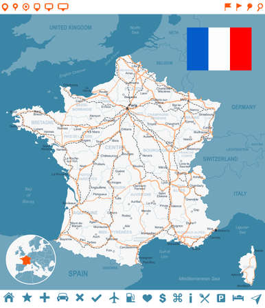 Map of France and flag - highly detailed vector illustration. Image contains next layers land contours, country and land names, city names, water object names, flag, navigation icons, roads, railways. Illustration