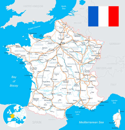 Map of France and flag - highly detailed vector illustration. Image contains land contours, country and land names, city names, water object names, flag, roads, railways.
