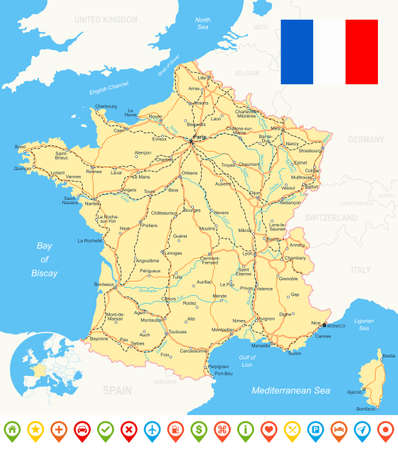 regions: France map, flag, navigation icons, roads, rivers - illustration. Illustration
