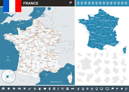France infographic map - highly detailed vector illustration. Image contains land contours, country and land names, city names, water objects, flag, navigation icons, roads, railways. Stock Illustratie