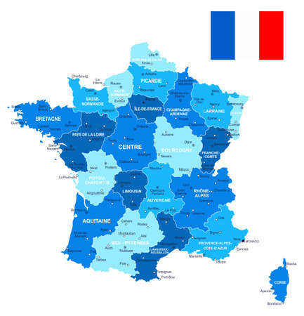 lille: Map of France and flag - highly detailed vector illustration. Image contains land contours, country and land names, city names, water object names, flag. Illustration