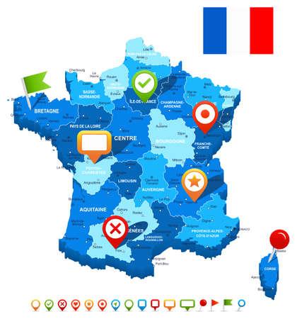 mapa de europa: Francia mapa 3D, la bandera y los iconos de navegación - ilustración.