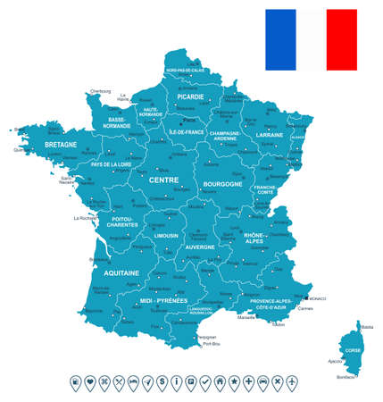 geographical locations: Map of France and flag - highly detailed vector illustration. Image contains land contours, country and land names, city names, flag, navigation icons.