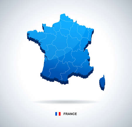 regions: France map - three-dimensional vector illustration. Map of France - 3D illustration.