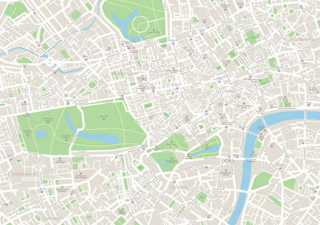 city center: London Map. Highly detailed vector map of London. Map includes streets, parks, names of subdistricts, points of interests. Illustration