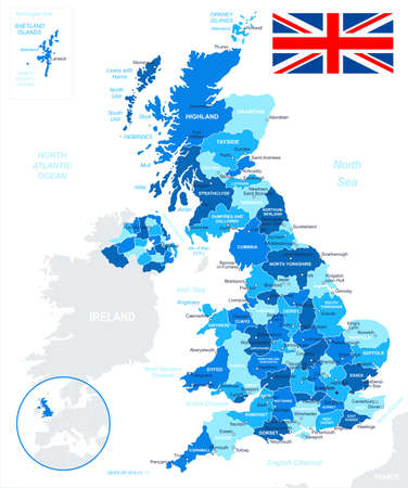 United Kingdom - map and flag - illustration.