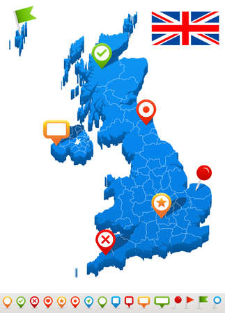 england politics: Vector illustration of Great Britain map and navigation icons.