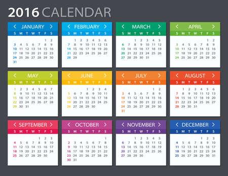 2016 Calendar - illustration. Vector template of color 2016 calendar.