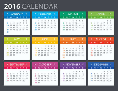 2016 Calendar - illustration. Vector template of color 2016 calendar.