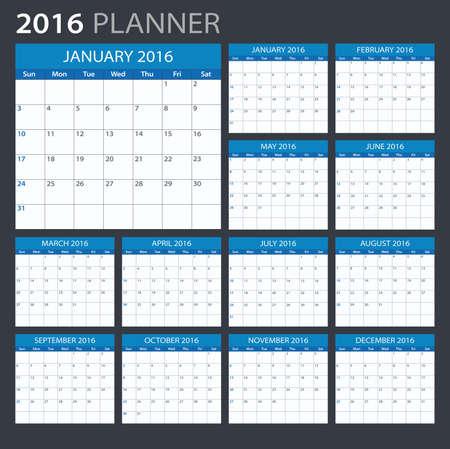 calendar september: 2016 Planner - illustration. Vector template of 2016 calendarplanner.
