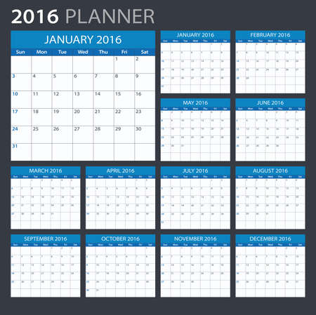 2016 Planner - illustration. Vector template of 2016 calendarplanner.