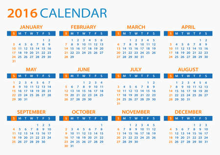 editable: 2016 Calendar - illustration. Vector template of 2016 calendar.