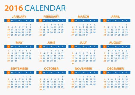 calendrier: Calendrier 2016 - illustration. Modèle de Vector 2016 calendrier.