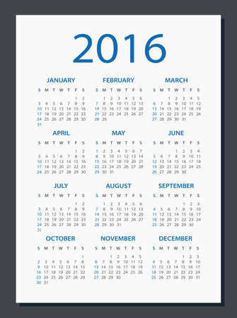 isolated: 2016 Calendar - illustration. Vector template of 2016 calendar.