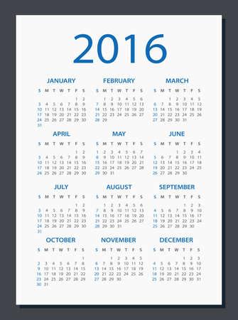 calendario julio: 2016 Calendario - ilustraci�n. Modelo del vector de 2016 del calendario. Vectores