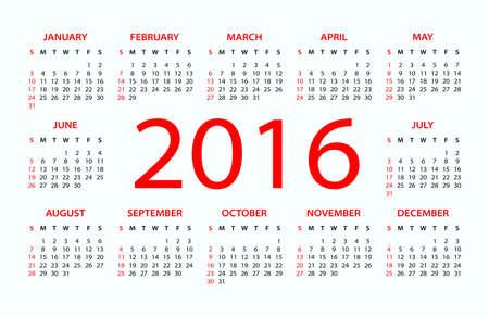 electronic organizer: 2016 Calendar - illustration. Vector template of 2016 calendar.