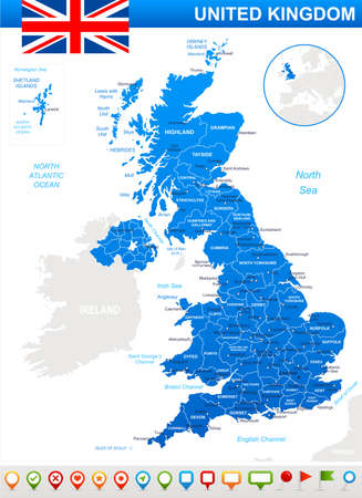 regions: Map of Great Britain and flag - highly detailed vector illustration. Image contains land contours, country and land names, city names, water object names. flag, navigation icons. Illustration