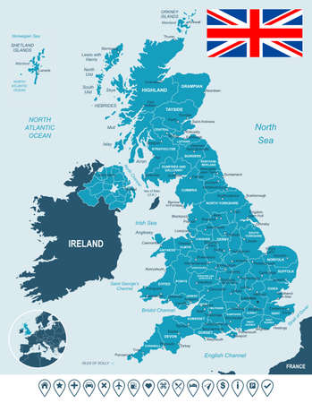 geographical locations: Map of Great Britain and flag - highly detailed vector illustration. Image contains land contours, country and land names, city names, water object names, flag, navigation icons.