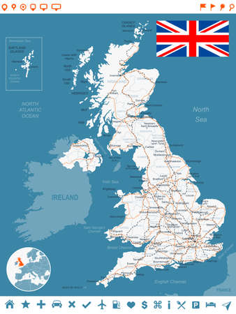 uk map: United Kingdom map, flag, navigation labels, roads - illustration. Illustration