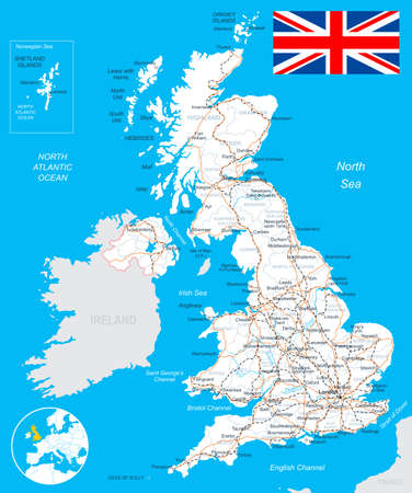 england politics: United Kingdom map, flag, roads - illustration. Illustration