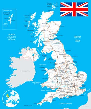 United Kingdom map, flag, roads - illustration.