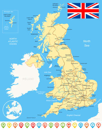 london street: Map of Great Britain and flag - highly detailed vector illustration. Image contains land contours, country and land names, city names, water object names, flag, navigation icons, roads, railways, rivers.