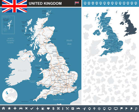 United Kingdom infographic map - illustration. Illustration