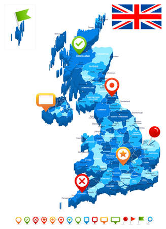england map: United Kingdom map 3D, flag and navigation icons - illustration.